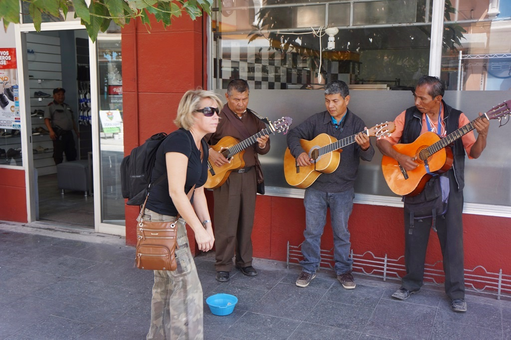 guitar players on the street downtown guatemala city