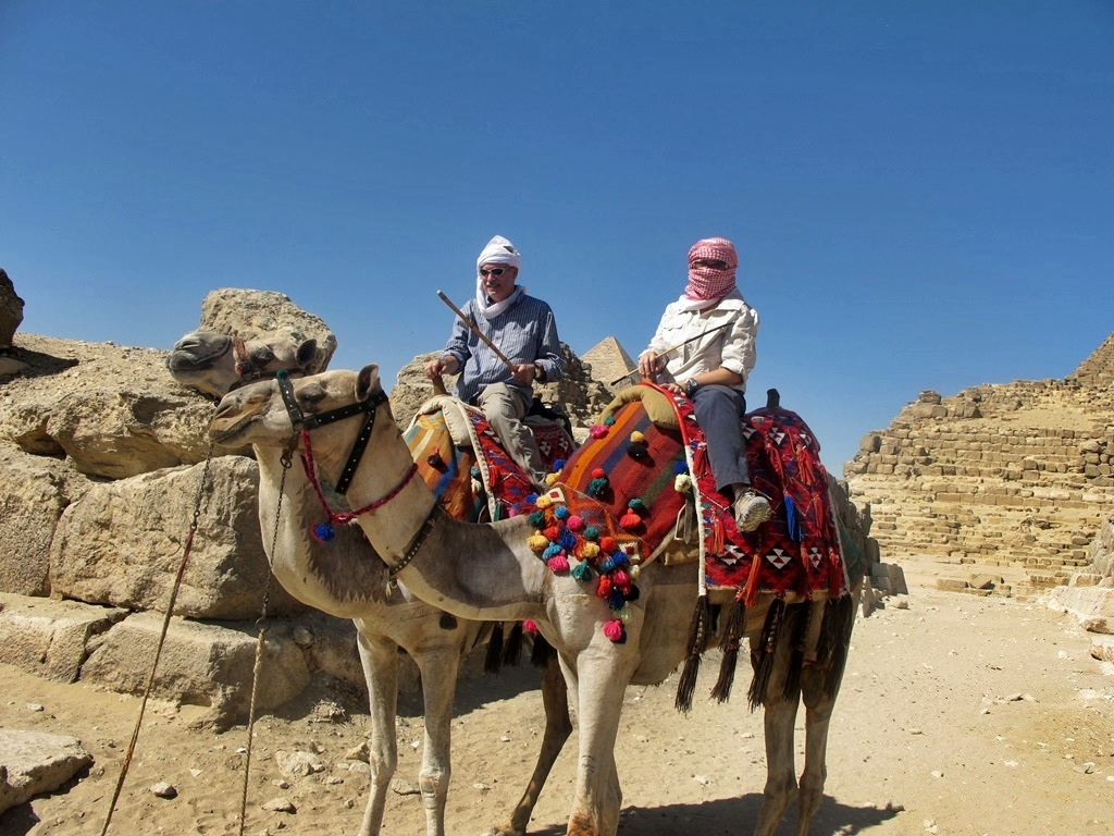 riding camels at Giza Egypt