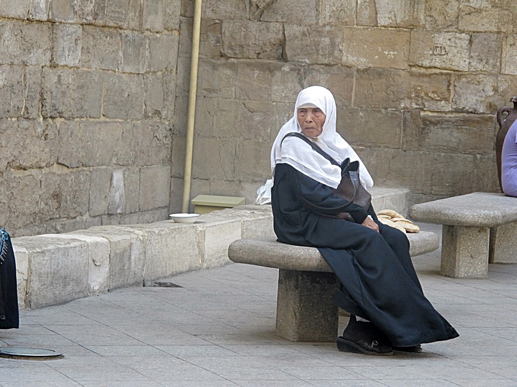 lady in traditional dress in the fundamentalist islamic area of cairo egypt