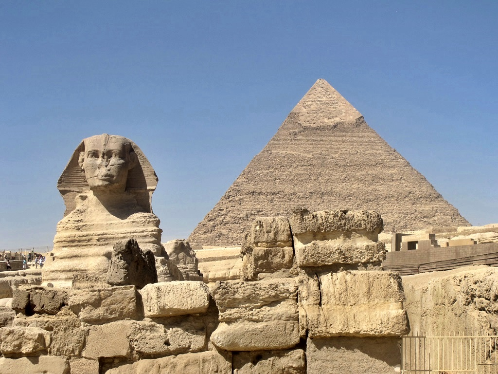 The sphinx and pyramid at giza Egypt