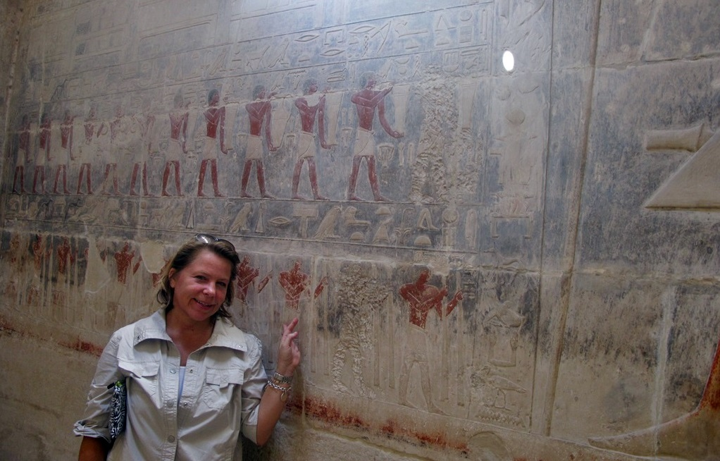 Art and hieroglyphics at a pyramid in Giza Egypt