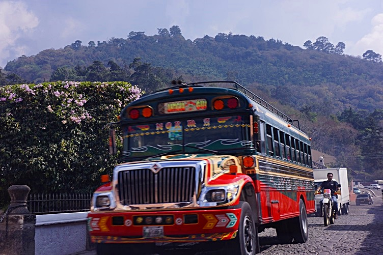 colorful Chicken Bus Antigua Guatemala