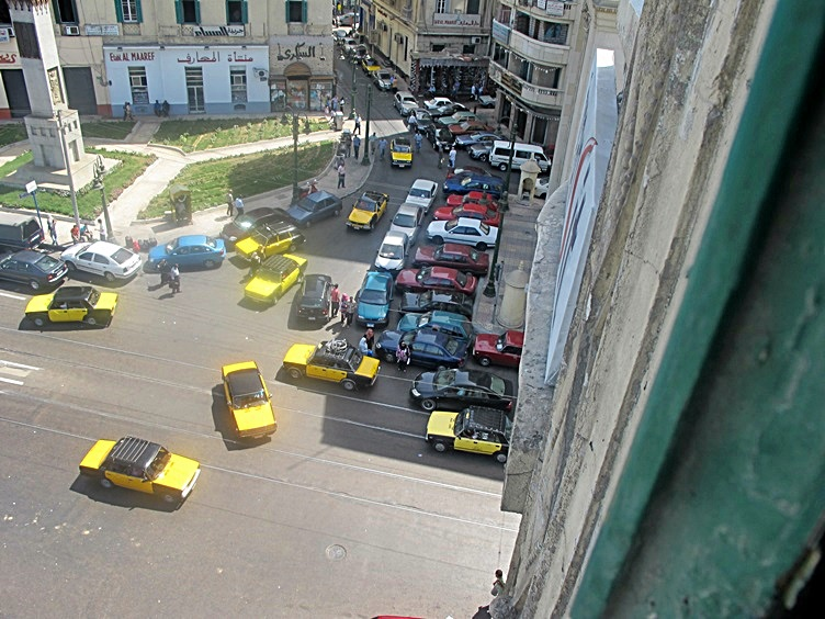 Crazy Drivers Causing a Taxi Jam Alexandria Egypt