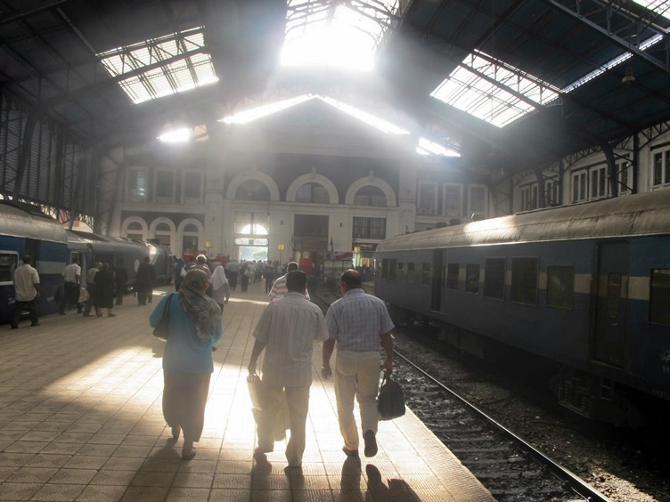 Travelers at the Train Station - Alexandria Egypt