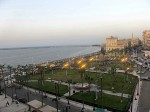 View of the Mediterranean Sea from the Transit Hostel Alexandria Egypt