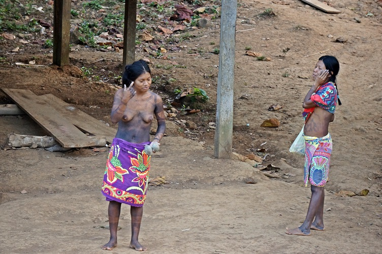 Sisters at the Embera Village Panama